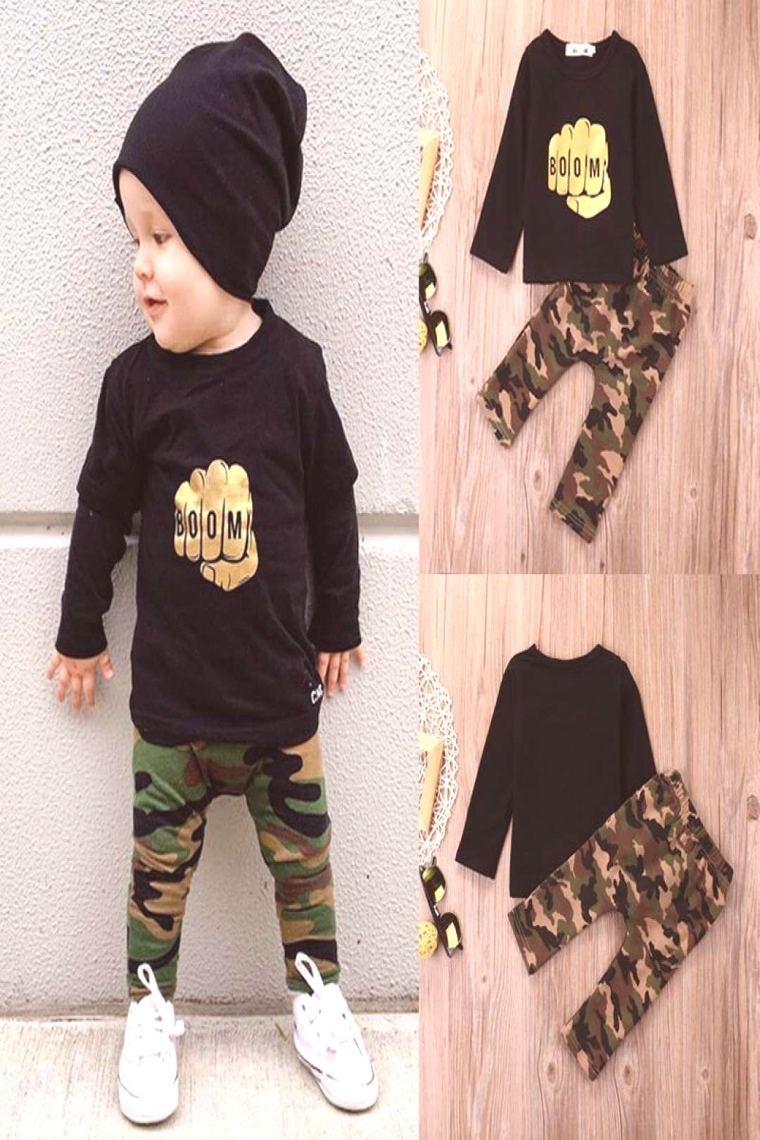 Camouflage Newborn Baby Boy Toddler Clothes Set T Shirt Tops Long Sleeve Pants Cotton Outfits Set C