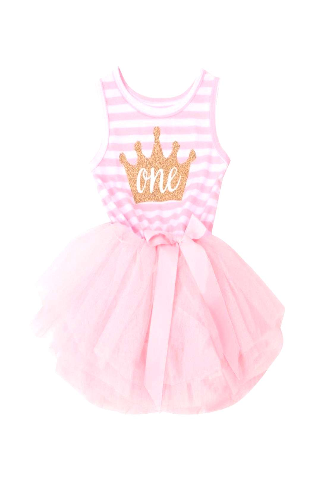 Casual Pageant Wedding Christening Newborn Dress Crown Pattern First Year Birthday Party Dress For