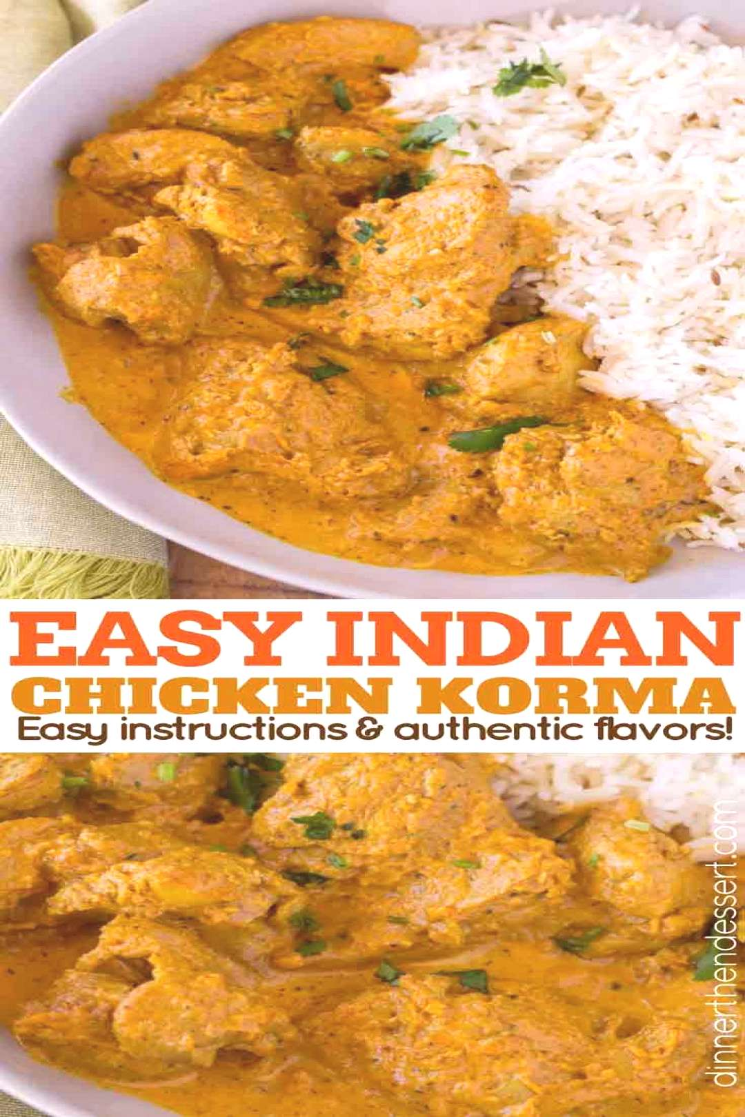 Chicken Korma is a traditional Indian dish that is light and flavorful almond curry made with tomat
