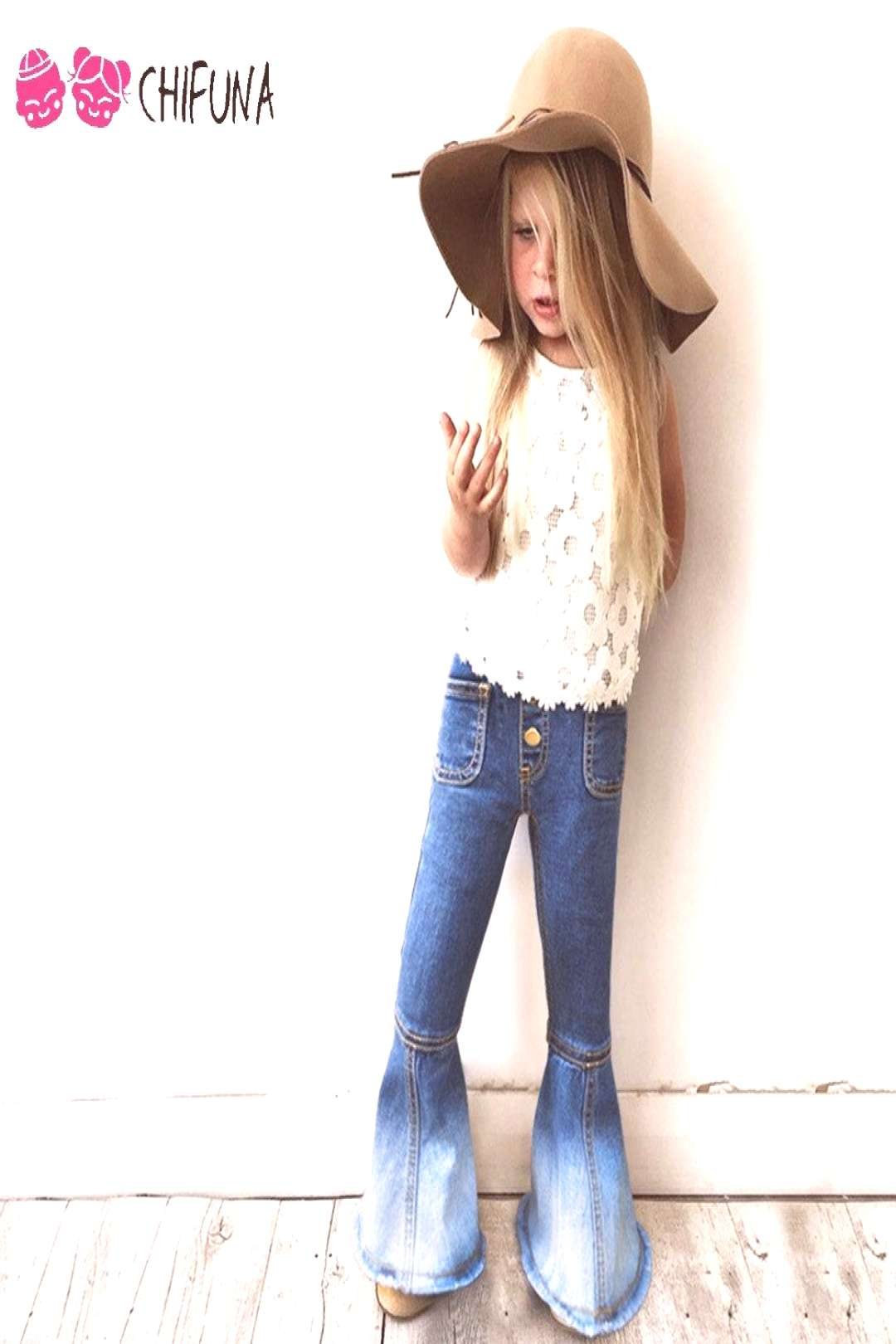 chifuna 2017 New Girls Bell-bottomed Pants Spring Children Trousers Outfits Baby Costume Fashion Ki