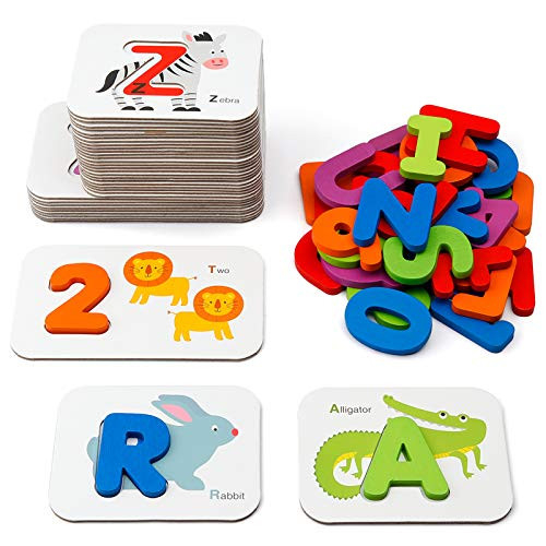 Coogam Numbers and Alphabets Flash Cards Set - ABC Wooden