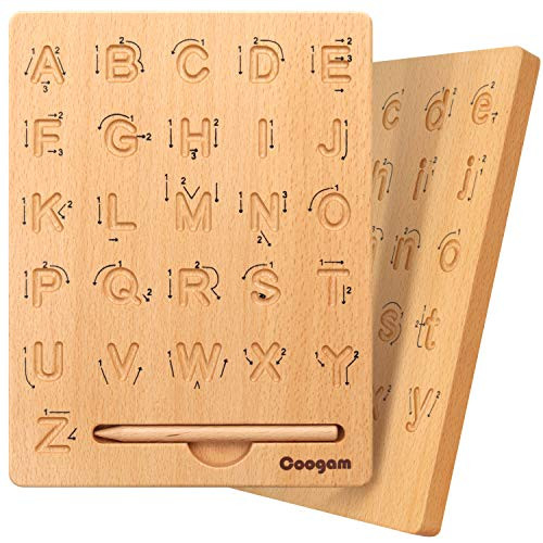Coogam Wooden Letters Practicing Board, Double-Sided