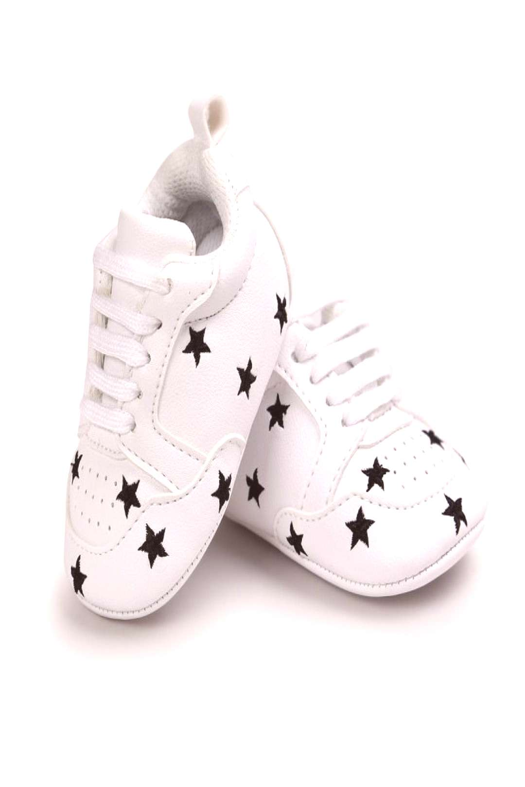 Cute Spring White Printed Fashion Baby Casual Infant Toddler Kids Anti-skid Casual Lace Up Baby Sho