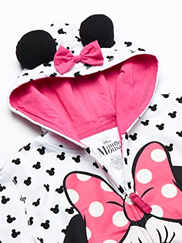 Disney Toddler Girls Minnie Hoodie with Bow and Ear, White,