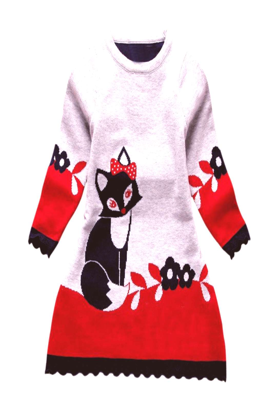 Double-layer Long-Sleeve Autumn Winter Kids Fox Clothing Thick Girl Fox Sweater Dress for Children