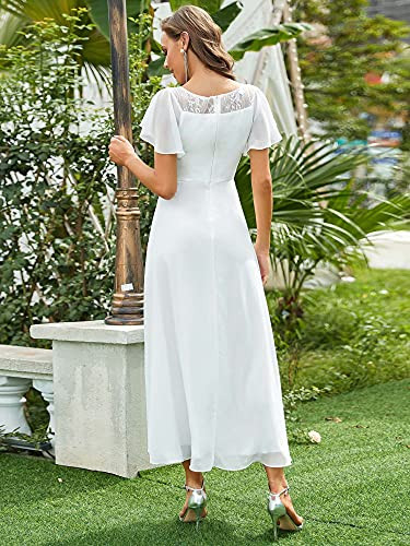 Ever-Pretty Womens Lace Illusion Ruffle Sleeves Summer