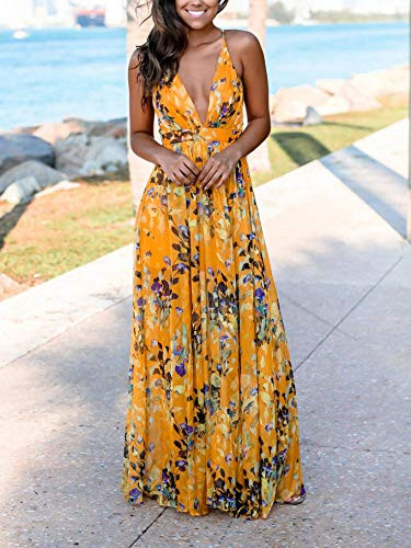 FANDEE Summer Dresses for Women Maxi Sexy Strap Floral