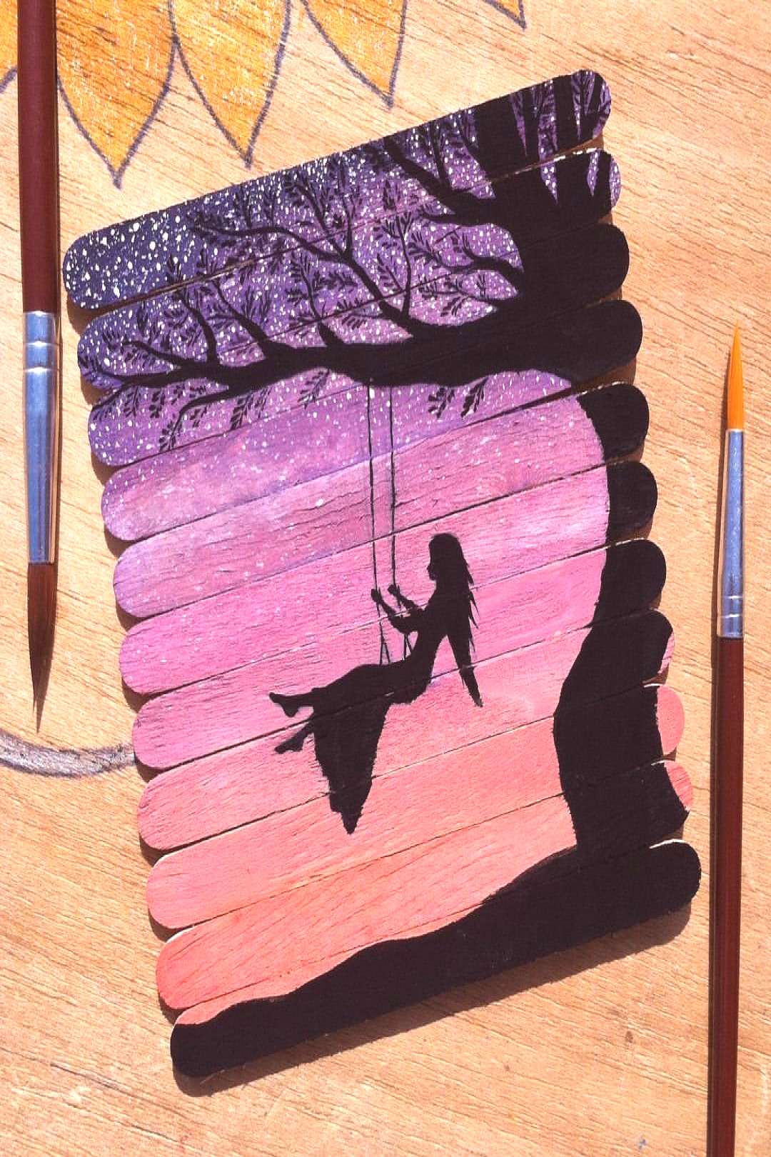 """Farwa on Instagram """"The most fun thing about my childhood was swing. So this painting is qui..."""