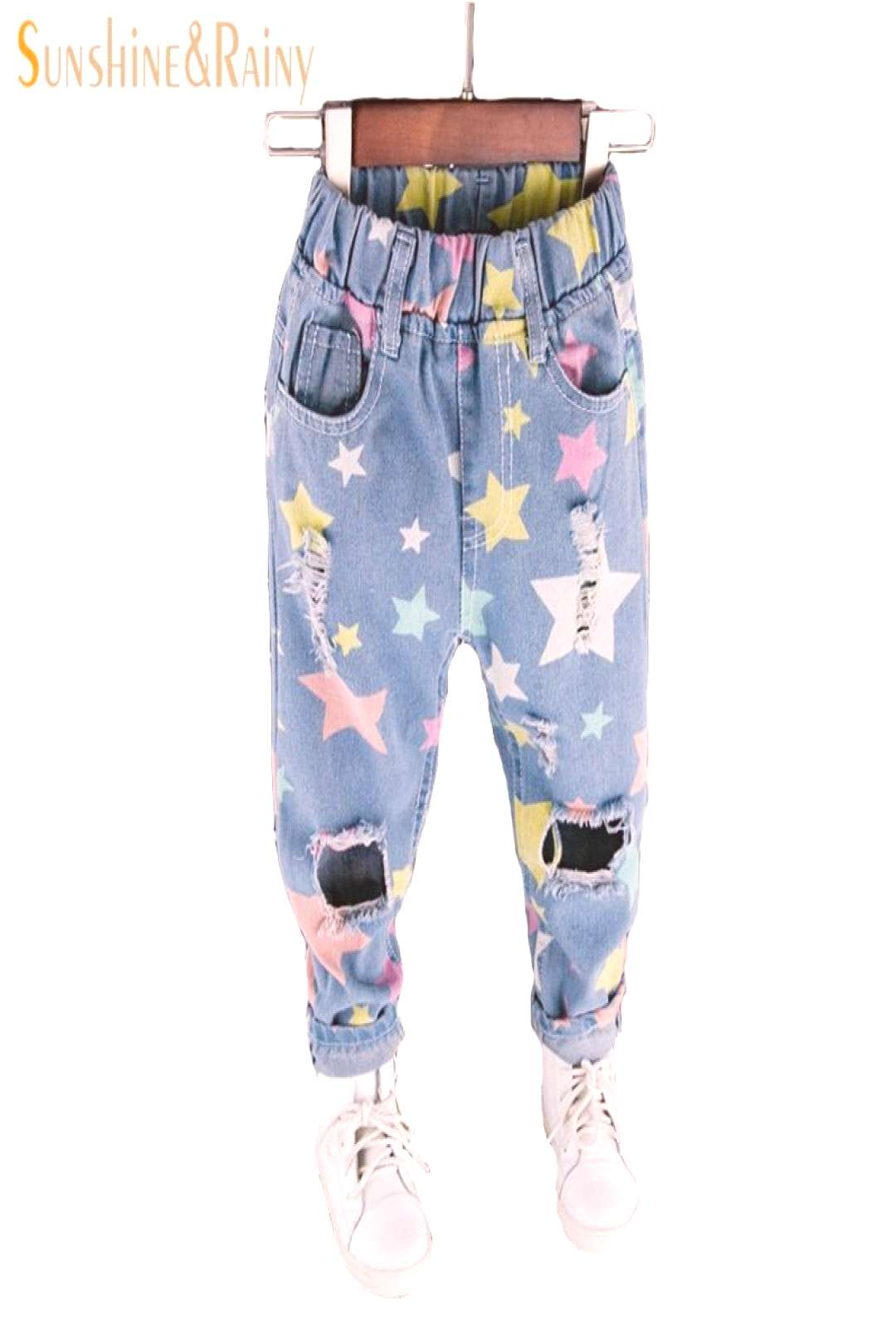 fashion jeans for girls boys trousers star print hole ripped denim jeans for kids spring autumn loo