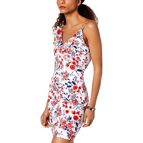 GUESS Womens Floral Printed Scuba and Chiffon Dress,