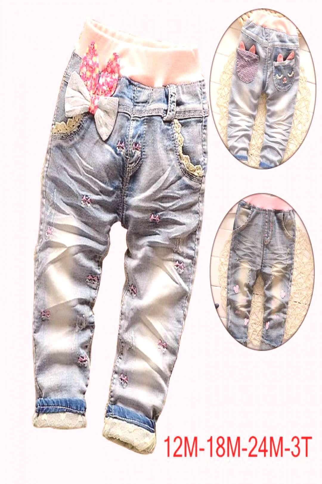 High quality 2017 New Arrival Butterfly Knotted Baby Girl jeans Long Pants Kids jeans baby Denim pa