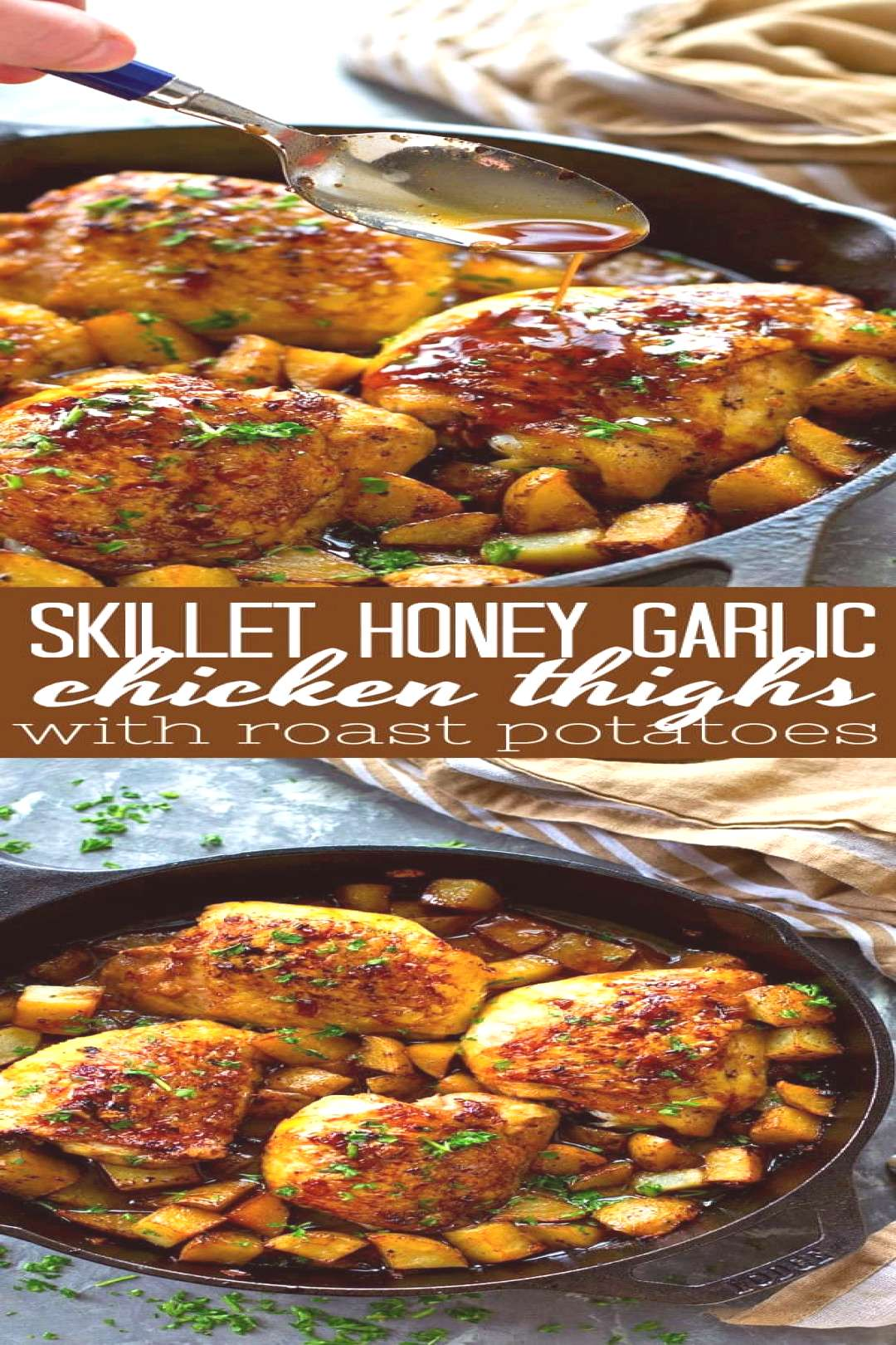 Juicy honey garlic chicken thighs and crispy roast potatoes are seared and baked in the most FLAVOR
