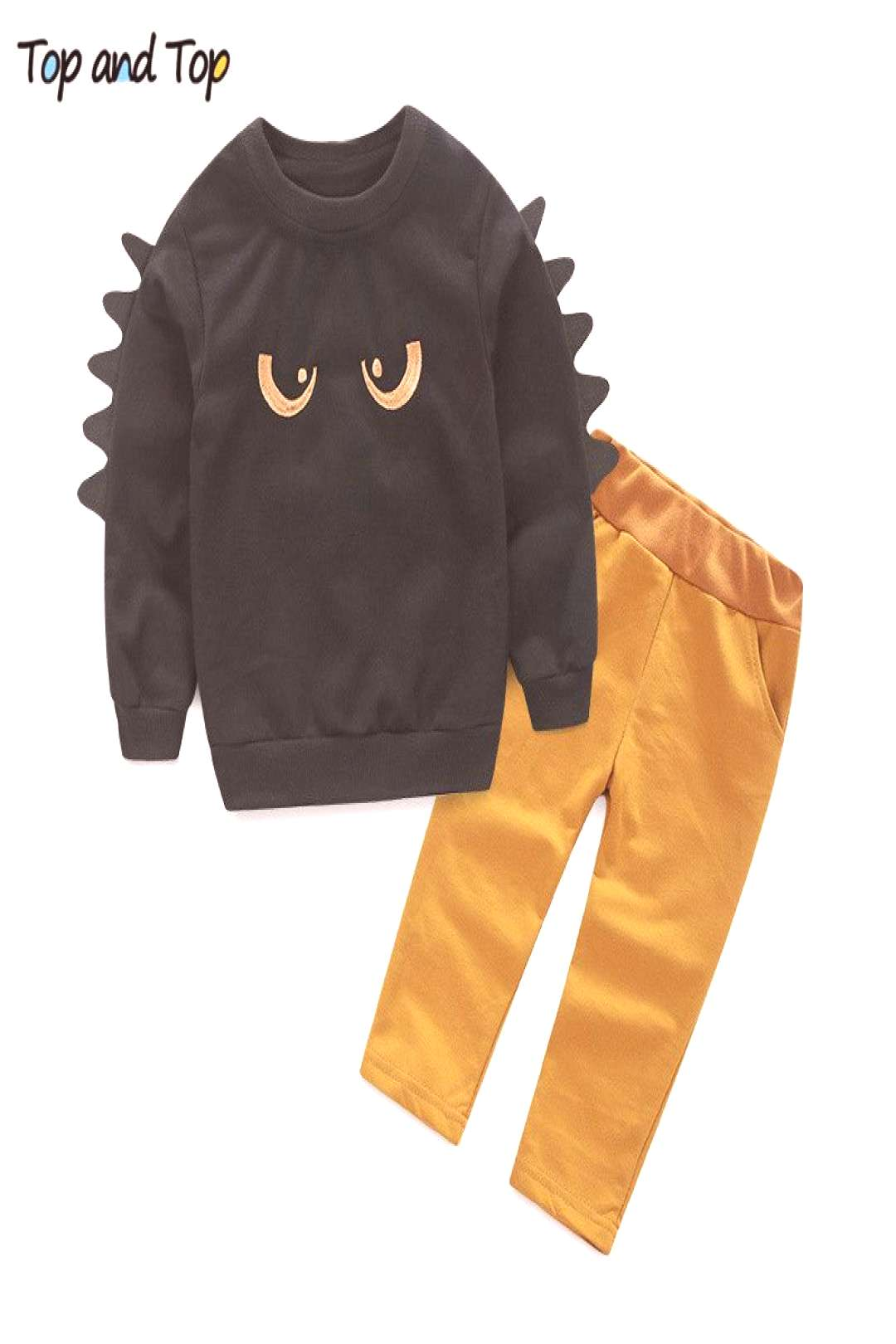 Kids Clothing Sets Long Sleeve T-Shirt + Pants, Autumn Spring Childrens Sports Suit Boys Clothes F