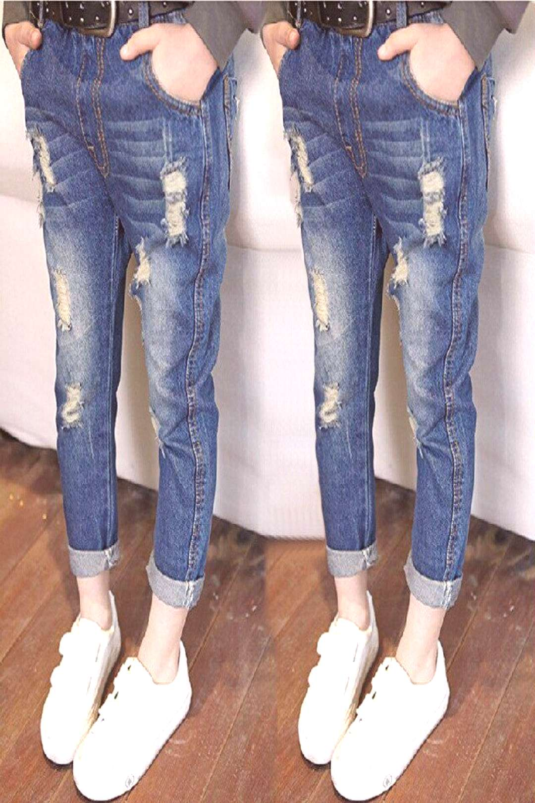KW Brand 3-8T Girl Jeans Spring 2017 Hole jeans for girls kids ripped jeans fashion girls clothing
