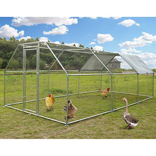 Large Metal Chicken Coop Walk-in Poultry Cage Hen Run House