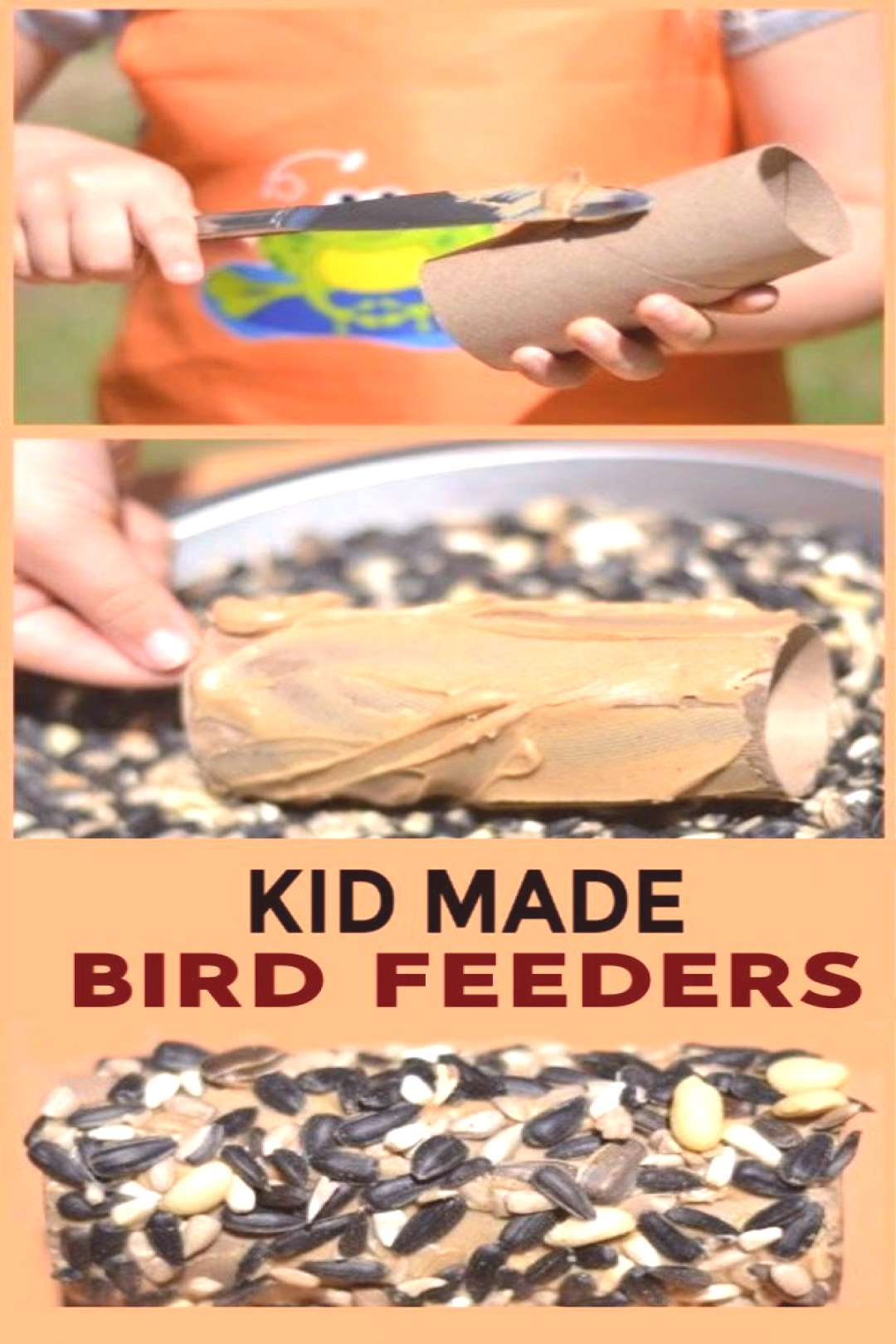 Make bird feeders using cardboard tubes and peanut butter! These kid made bird feeders are the perf