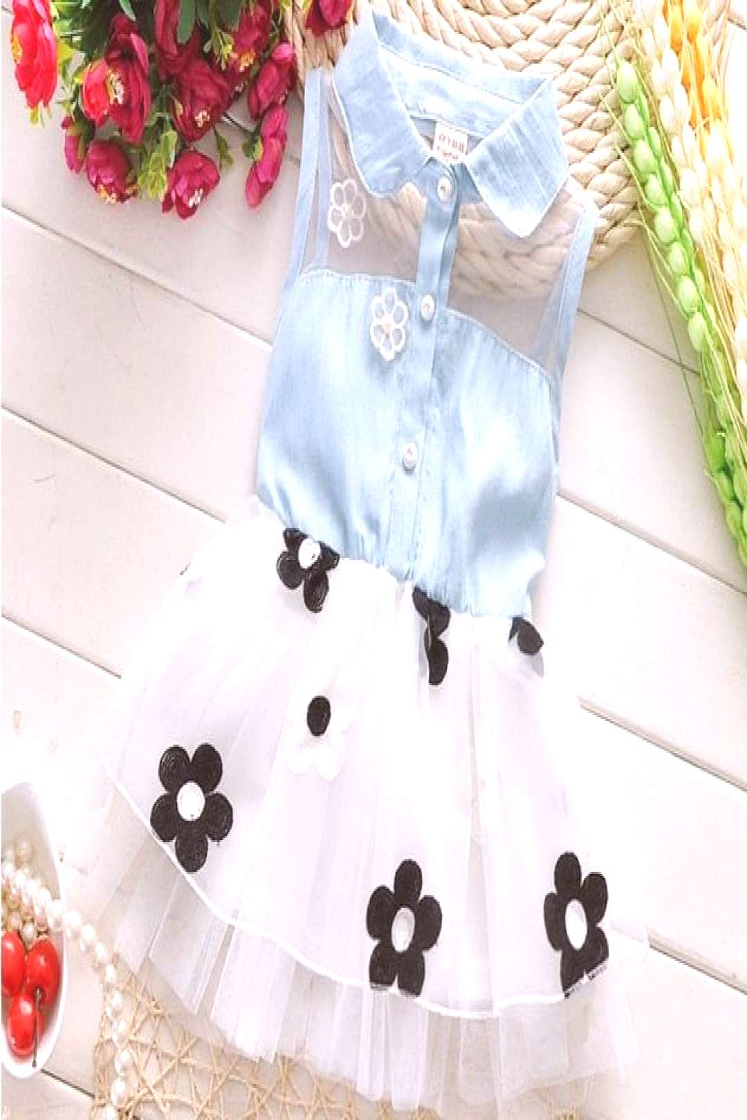 New baby summer dress for girls 1-3 years old turn-down collar sleeveless cotton with flower infant