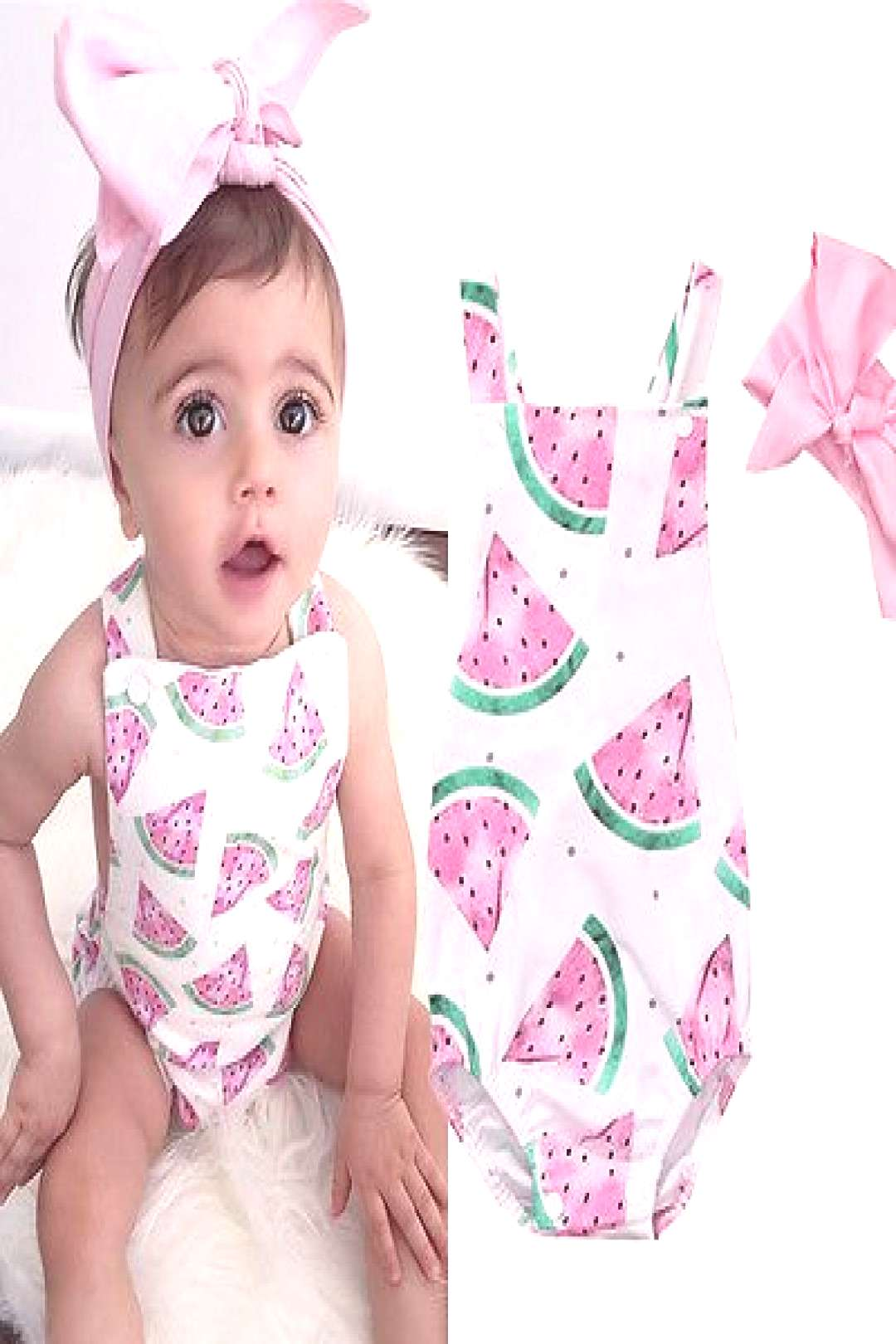 Newborn Toddler Infant Baby Girl Watermelon Sleeveless Romper Jumpsuit +Headband Outfit Sunsuit Clo