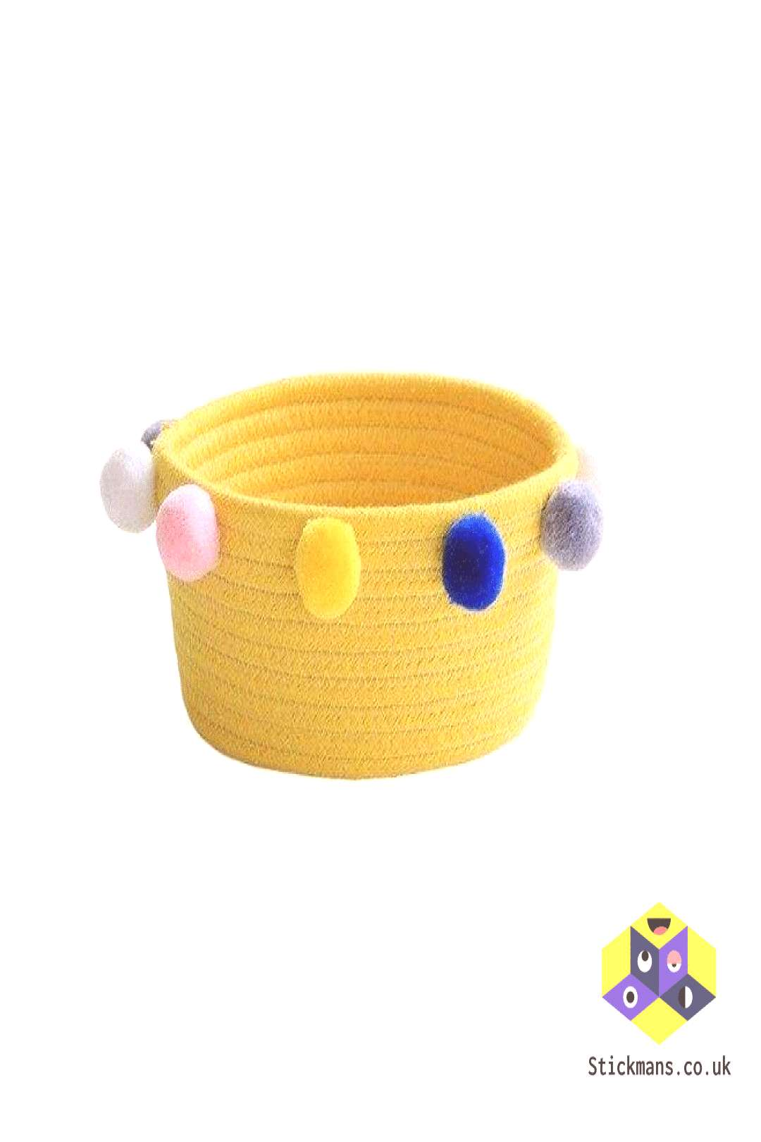 Nordic Woven Basket with Fluffy Balls Toys Storage Baskets