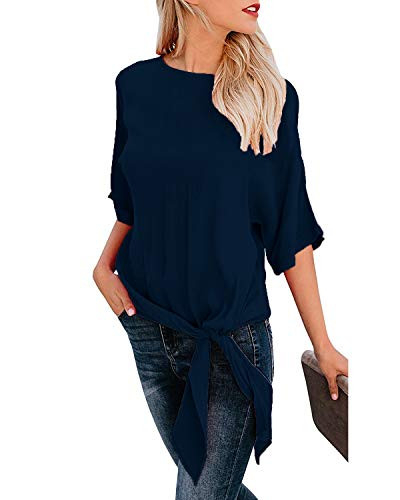 OURS Casual Knot Tie Front Short Sleeve Chiffon Blouses for