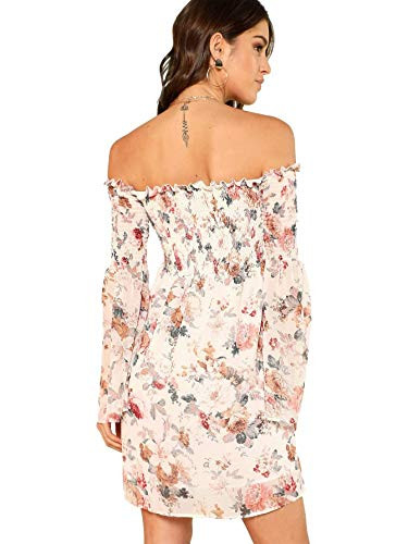 Romwe Womens Casual Floral Print Off Shoulder Trumpet