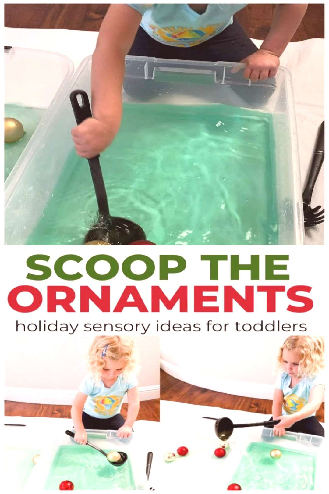 Scoop the Ornaments Holiday Sensory Play for Toddlers This Christmas sensory play activity will be