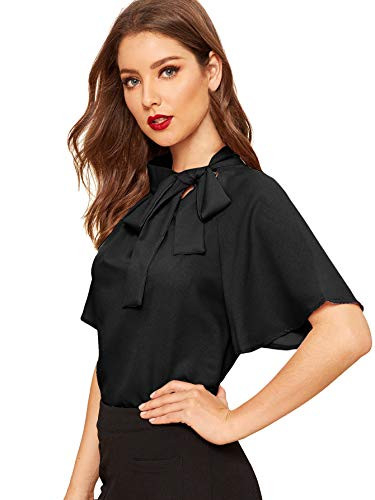 SheIn Womens Casual Side Bow Tie Neck Short Sleeve Blouse