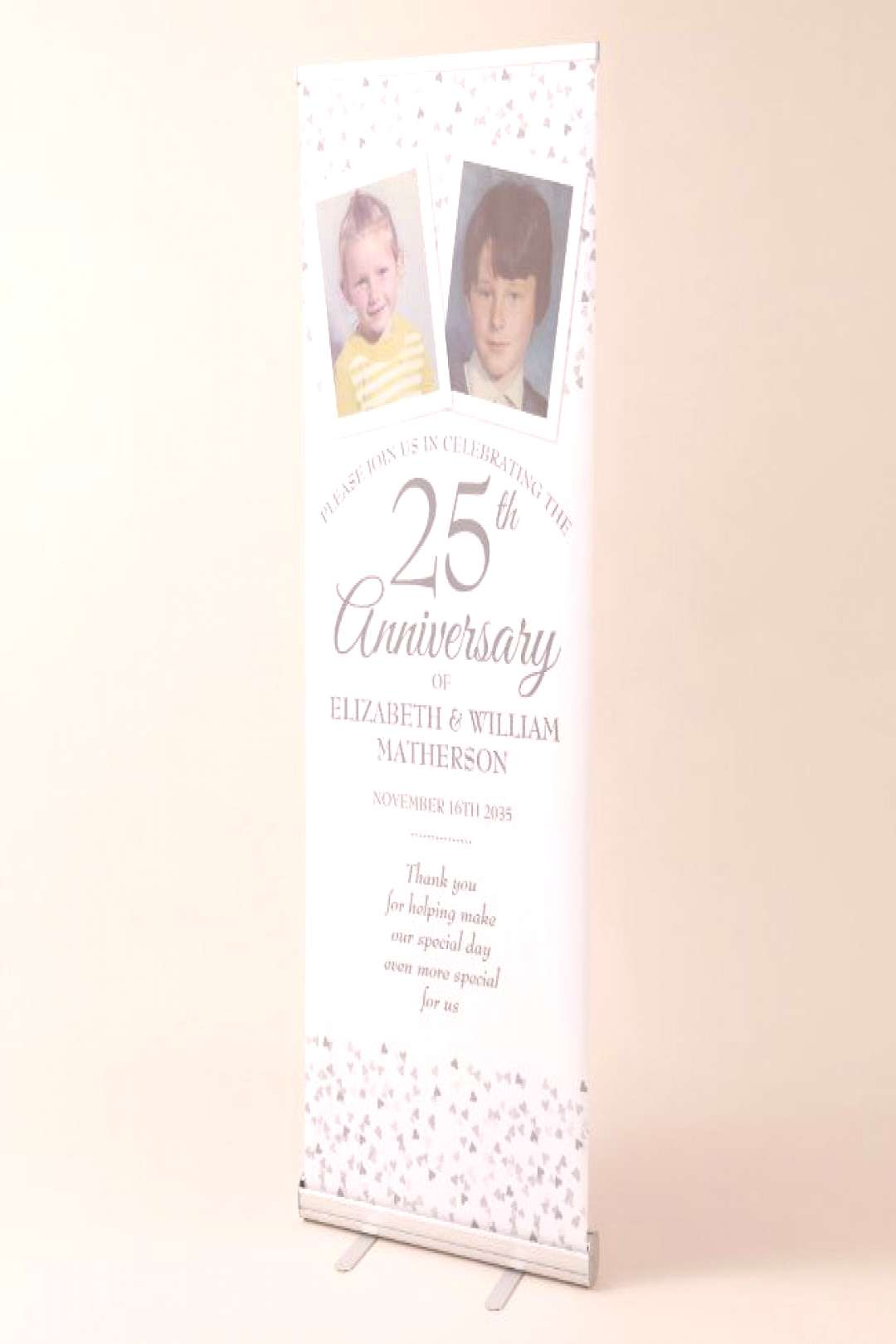 Silver Wedding Anniversary Childhood Photo Welcome Retractable Banner ,
