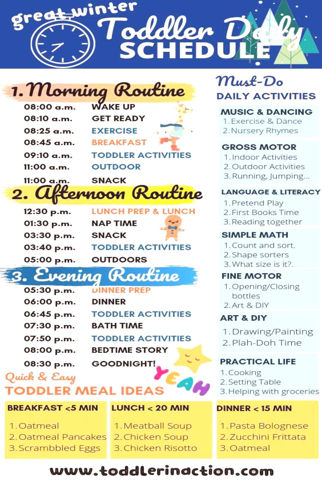 Simple and Easy Daily Toddler Schedule incl. Must-Do Daily Activities and Toddler Meal Ideas Make y