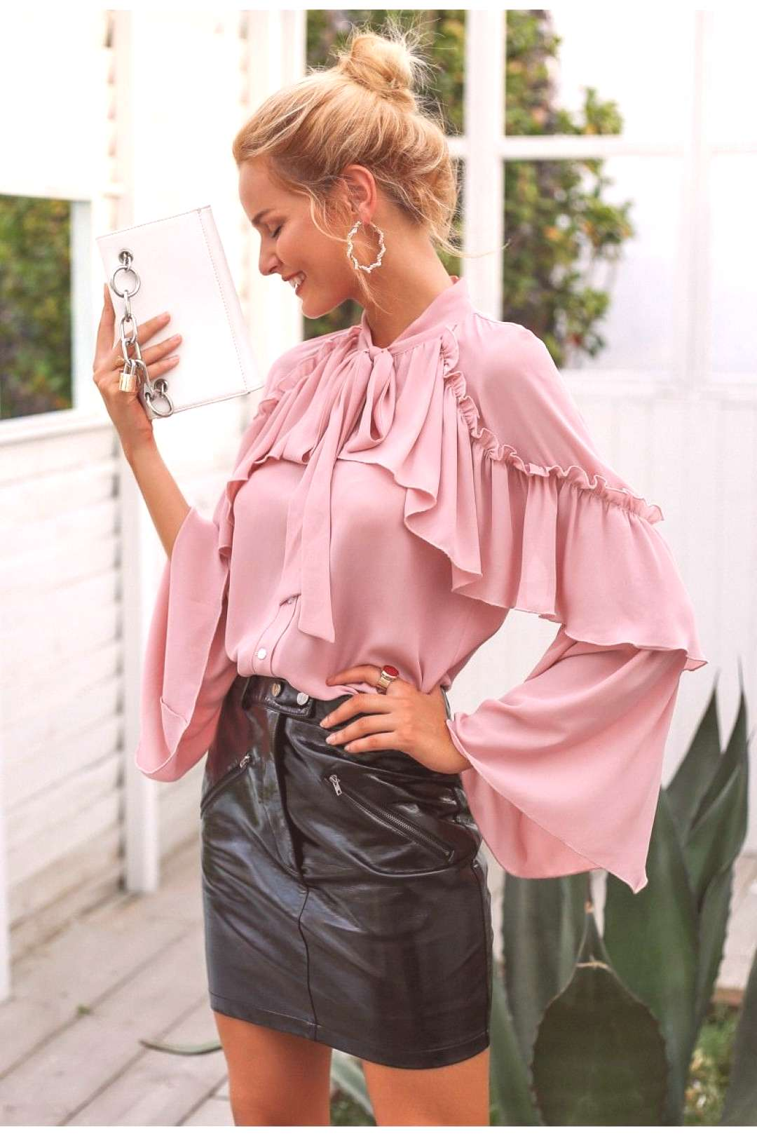Simplee long layered flare sleeve lace up chiffon blouse – GaGodeal