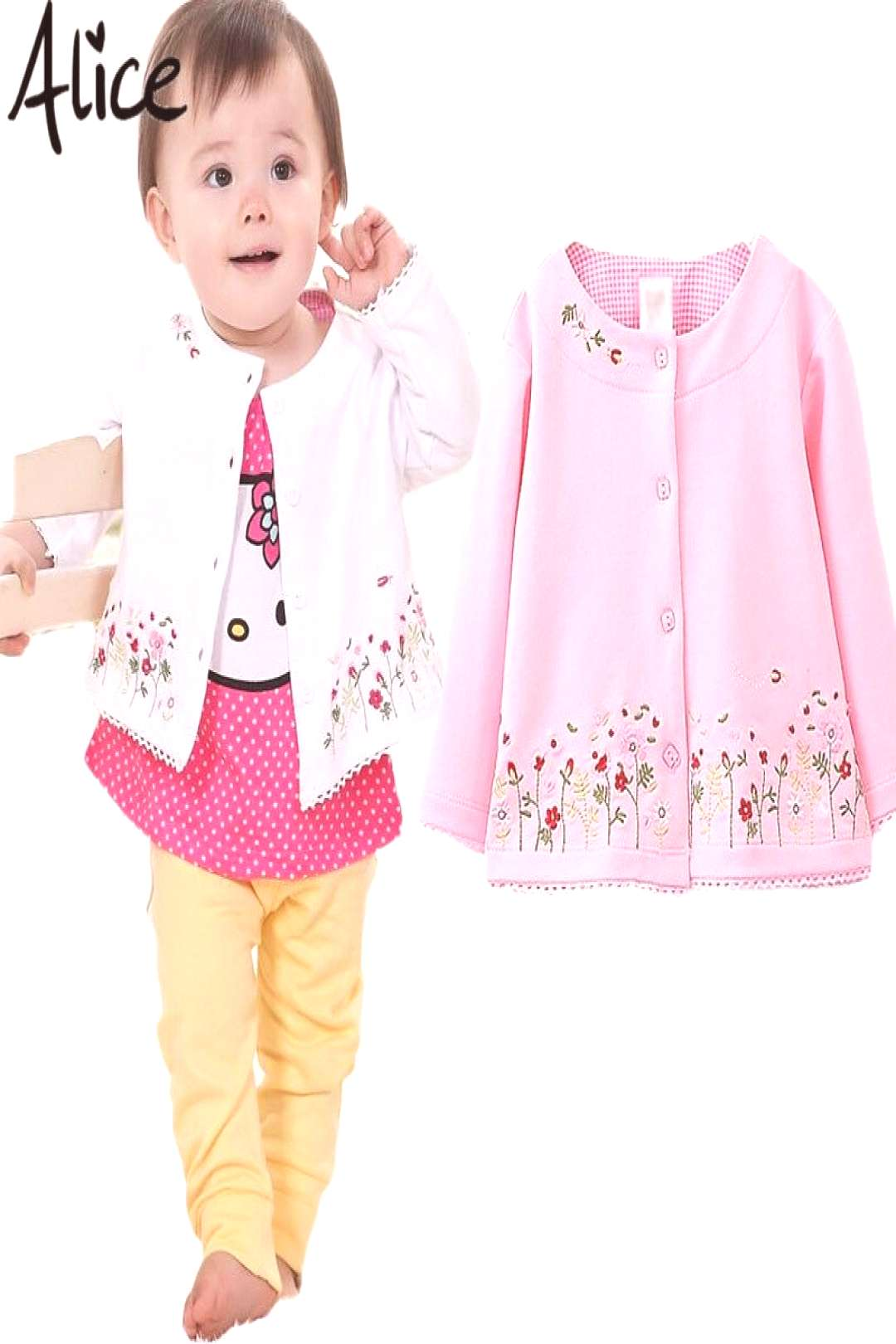Spring 2016 Childrens Clothing female Baby Girls long-sleeved cardigan jacket coat embroidered pin