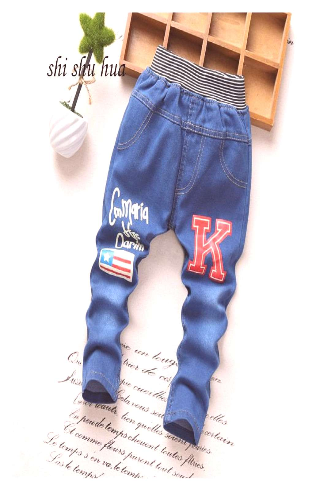 Spring and Autumn Fashion jeans children clothes 2-5 year old boys girls jeans, cartoon printing ca