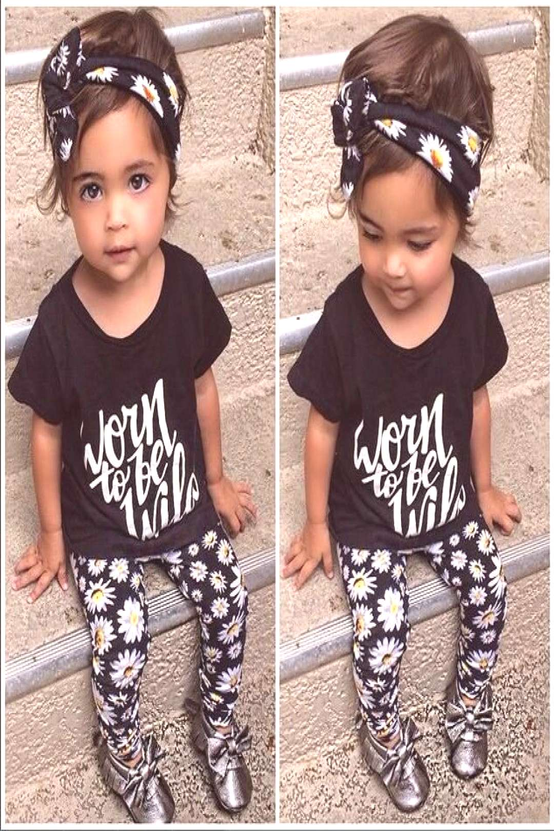 SY122 The new 2017 summer baby girl clothes 3 pcs / pack Flower Band T-shirt pants baby clothing se