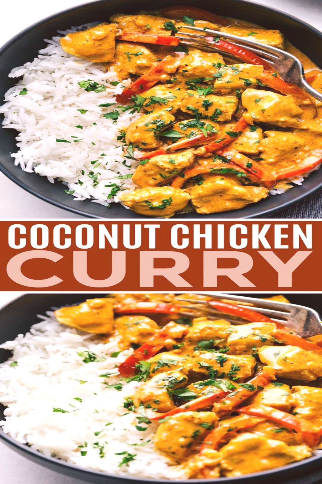 This coconut chicken curry can be made in one pot and is packed with delicious flavors! This curry
