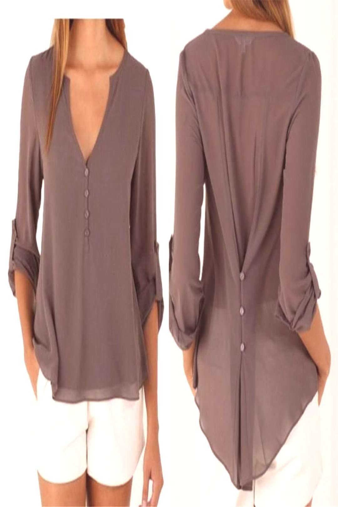V Neck Chiffon Blouse - Long Sleeve with Buttons