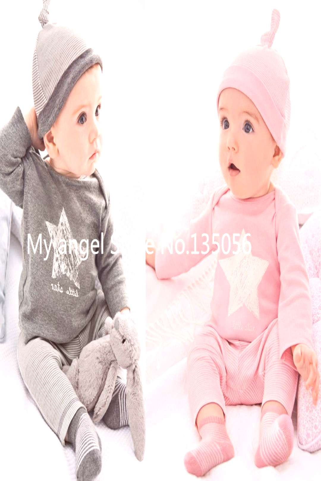 Wasailong New Spring and autumn baby boy clothes 100%cotton 3pcs (Hat + T-shirt, pants) The stars l