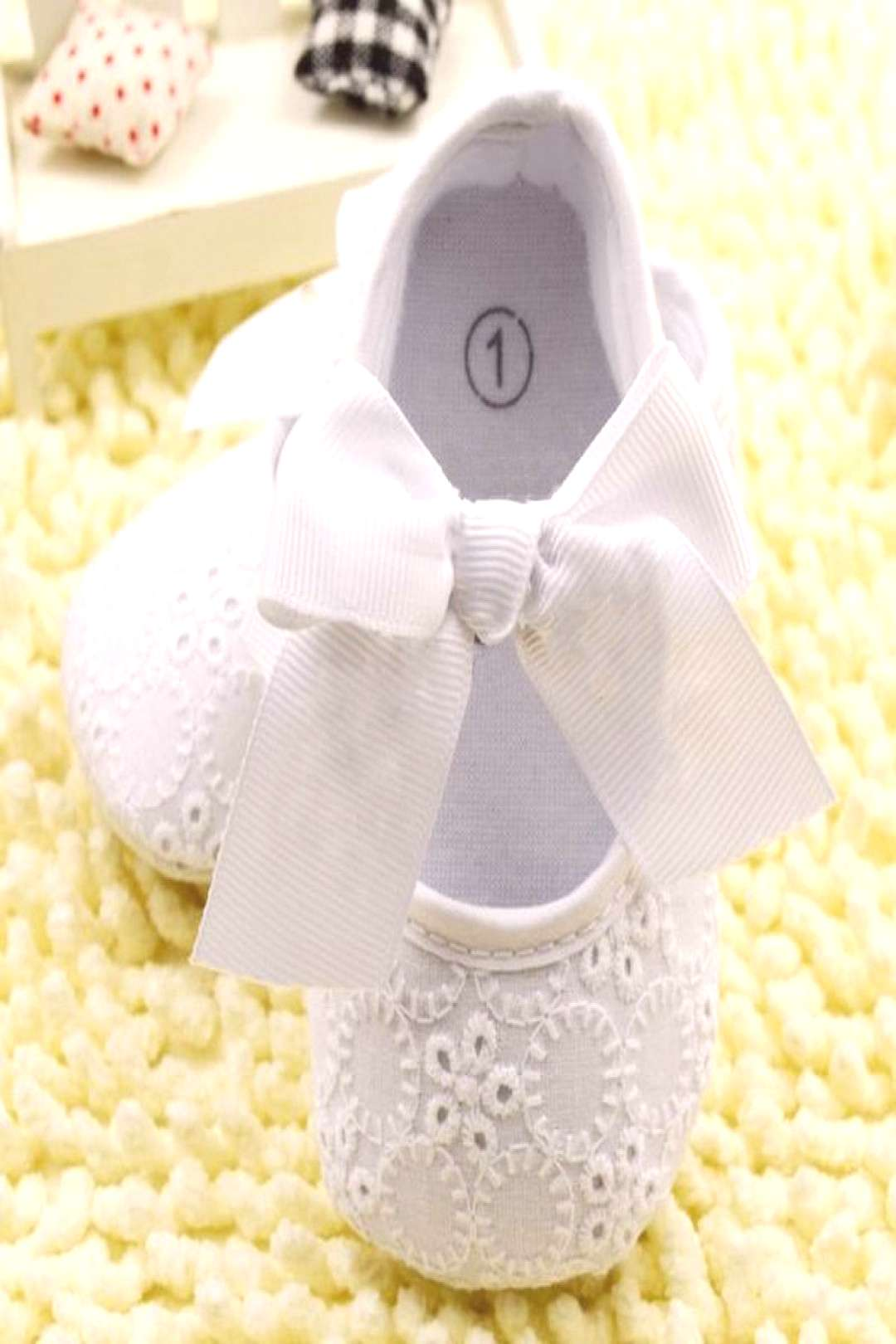 White Bowknot Baby Girl Lace Shoes Toddler Prewalker Anti-Slip First Walker Simple Baby Shoes - Buy