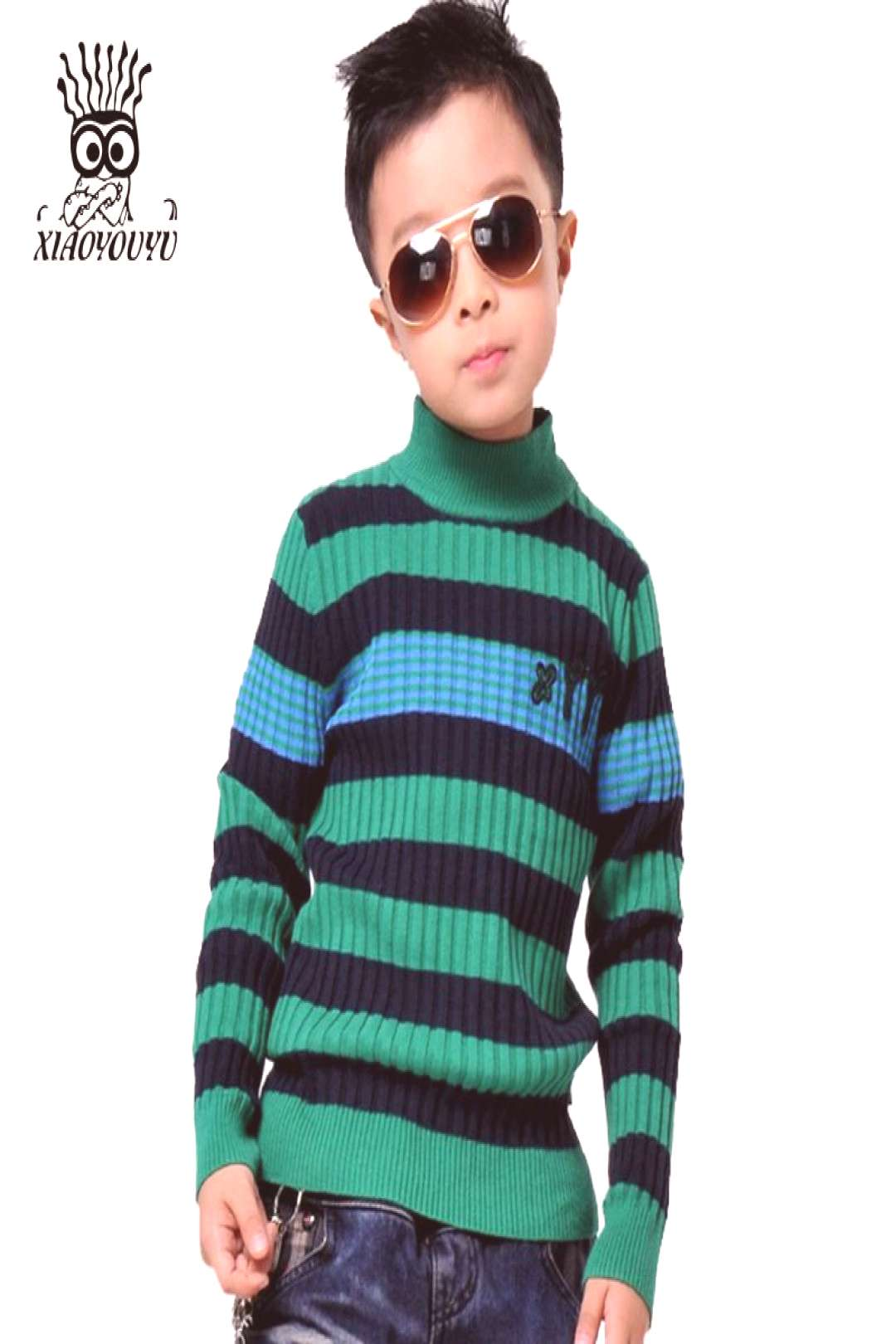 XIAOYOUYU Size 110-150cm Boys Casual Sweaters 2016 Korean Style Stripe Kids Popular Pullovers Stand